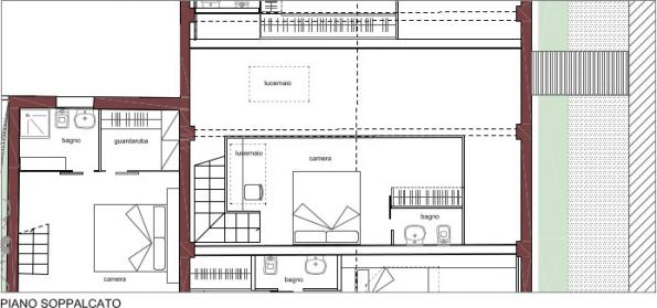 Rio Terà dei Pensieri, map of a housing unit, mezzanine | C and C
